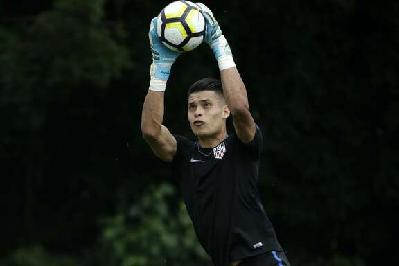 U.S. goalkeeper Jesse Gonzalez practices at the University of Pennsylvania in Philadelphia, Tuesday, July 18, 2017.After starting at the 2015 Under-20 World Cup for Mexico, the land of his parents, 22-year-old FC Dallas goalkeeper Jesse Gonzalez switched his affiliation this summer to the United States, where he grew up. Gonzalez wanted to play for the nation where he felt most comfortable. (AP Photo/Matt Rourke)