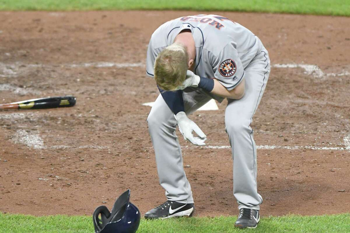 Astros third baseman Colin Moran was carted off the field in the sixth inning against the Orioles on Saturday night after fouling a pitch off his face. Moran was placed on the 10-day disabled list Sunday, and it was confirmed he has a facial fracture in his left cheek that might require season-ending surgery.