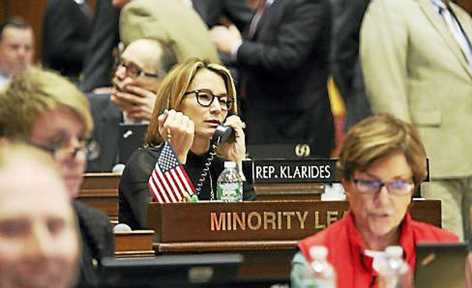House Minority Leader Themis Klarides on the phone with the speaker Photo: CTNewsJunkie File Photo