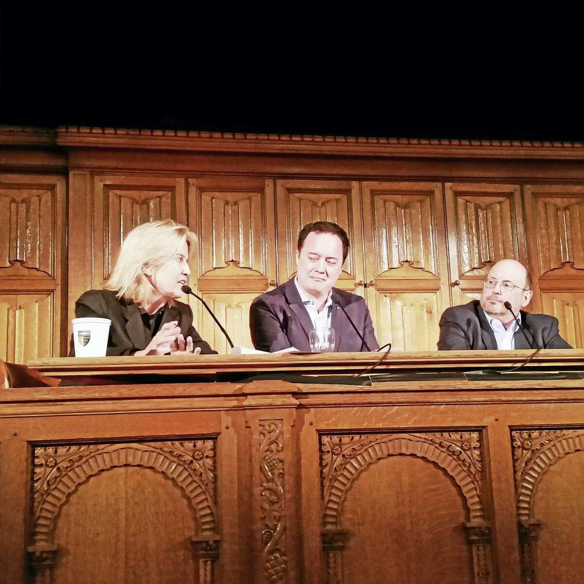 Greta Van Susteren with Graeme Wood of The Atlantic and Kurt Eichenwald of Newsweek.