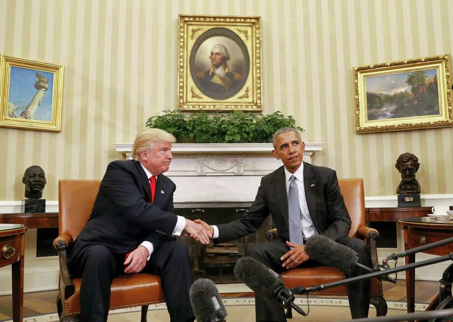 President Barack Obama and President-elect Donald Trump shake hands following their meeting in the Oval Office of the White House in Washington, Thursday, Nov. 10, 2016. Photo: Pablo Martinez Monsivais — AP Photo / Copyright 2016 The Associated Press. All rights reserved.