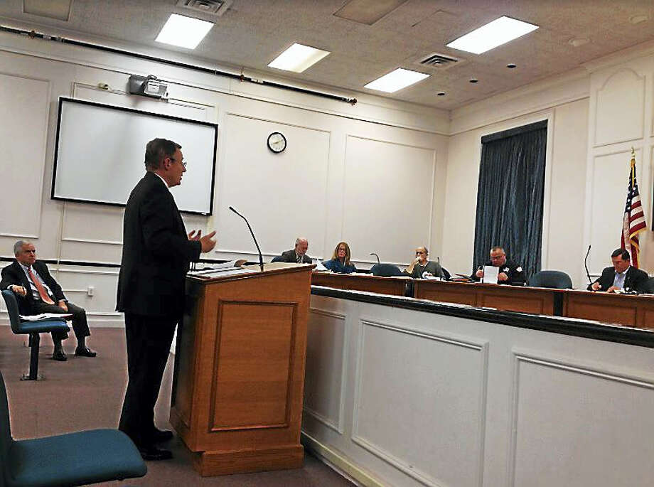 Thomas Cody, attorney for holdout property owners SZS Enterprises LLC, addresses the West Haven Planning and Zoning Commission Thursday night. Photo: Mark Zaretsky — New Haven Register