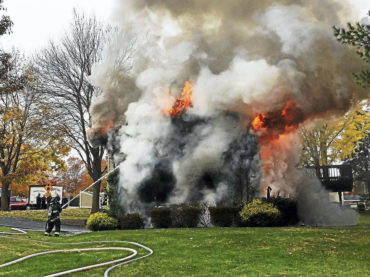 Hamden firefighters battled a blaze late Wednesday morning at 737 Choate Ave.