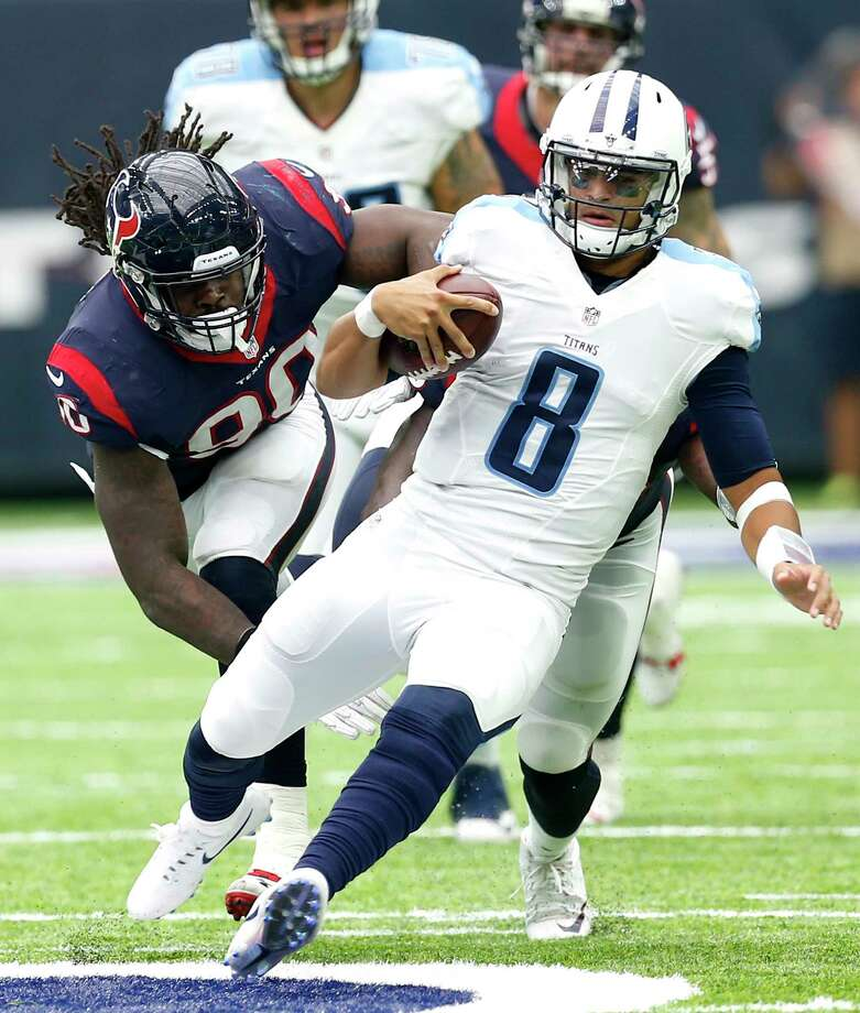 PHOTOS: McClain preview Texans-TitansTexans defensive end Jadeveon Clowney pursues Titans quarterback Marcus Mariota during a 2016 game at NRG Stadium.Browse through the photos to see a preview of the Texans' Sunday afternoon game against divisional rival Tennessee Titans. Photo: Brett Coomer, Staff / © 2016 Houston Chronicle