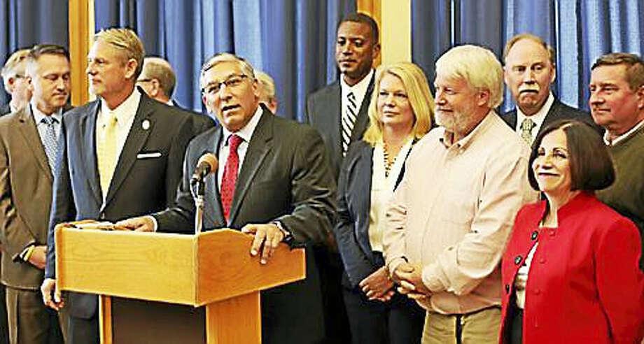 Sen. Minority Leader Len Fasano and his caucus members Photo: Christine Stuart Photo