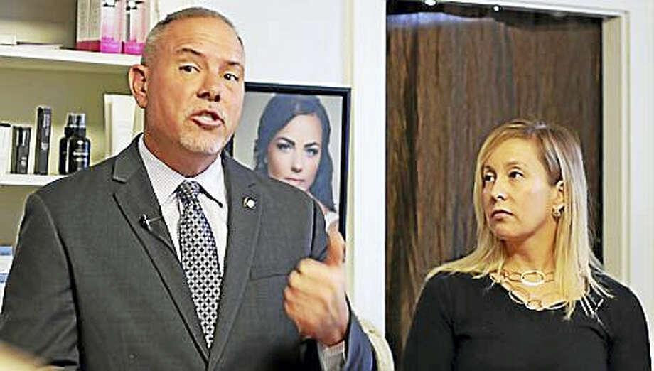 House Majority Leader Joe Aresimowicz with Liz Linehan of Cheshire Photo: CTNewsJunkie File Photo
