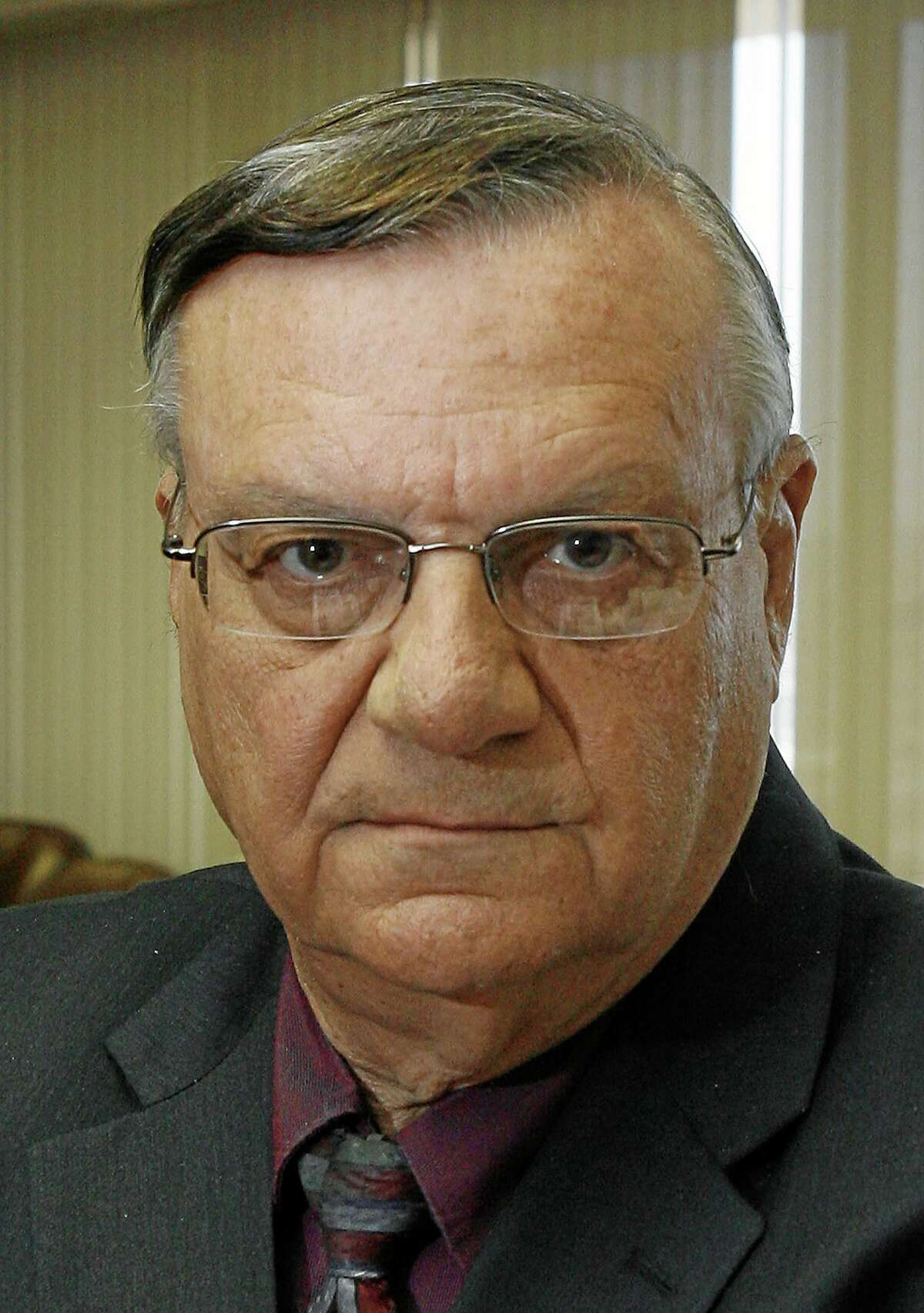 This April 17, 2008, photo shows Maricopa County Sheriff Joe Arpaio in his office in Phoenix.