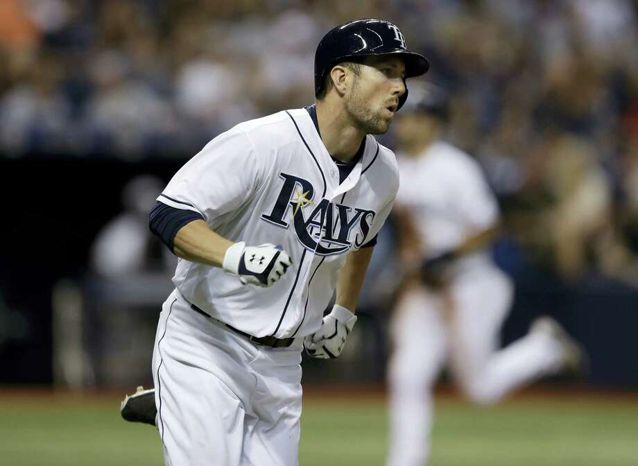 Tampa Bay Rays' Steven Souza Jr. heads to first base after his RBI single against the New York Yankees during the seventh inning of a baseball game Saturday, July 30, 2016, in St. Petersburg, Fla.  (AP Photo/Chris O'Meara) Photo: AP / AP