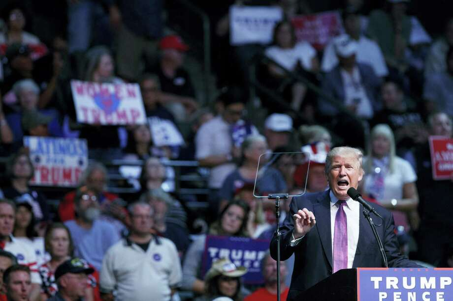 Republican presidential candidate Donald Trump speaks during a campaign rally at Xfinity Arena at Everett on Aug. 30, 2016 in Everett, Wash. Photo: AP Photo/Evan Vucci   / Copyright 2016 The Associated Press. All rights reserved.