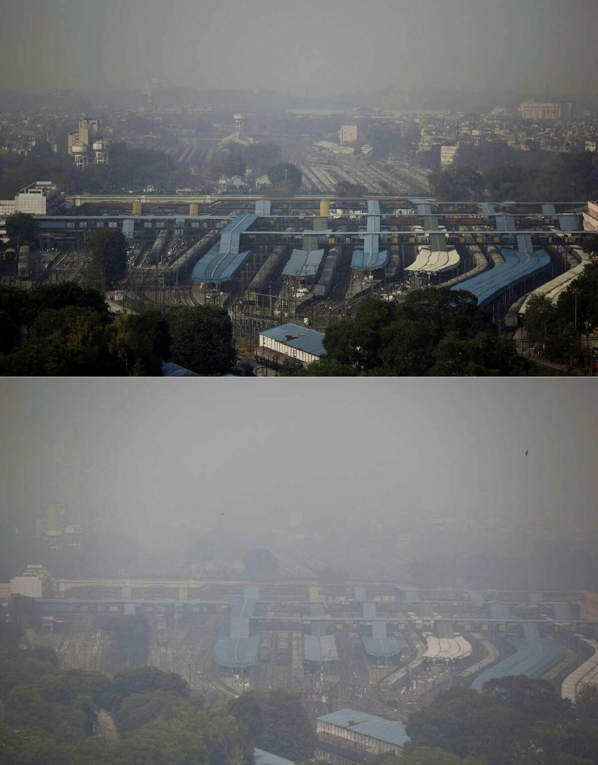 In this combination of two photos, the New Delhi skyline is seen enveloped in smog over a railway station on Oct. 28, 2016, top, and a day after Diwali festival on Oct. 31, 2016, bottom. As Indians wake Monday to smoke-filled skies from a weekend of festival fireworks for the Hindu holiday of Diwali, New Delhi's worst season for air pollution begins, with dire consequences. A new report from UNICEF says about a third of the 2 billion children in the world who are breathing toxic air live in northern India and neighboring countries, risking serious health effects including damage to their lungs, brains and other organs.