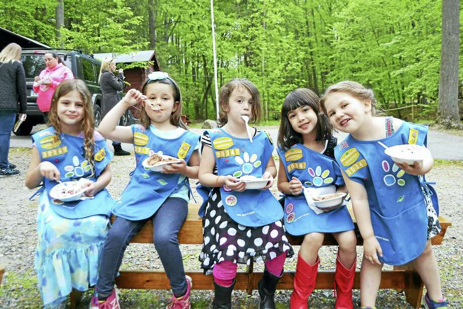 Contributed photo  The girls of Daisy Troop 30347, eating their ice cream reward after a successful diaper drive for the needy. Photo: Journal Register Co.