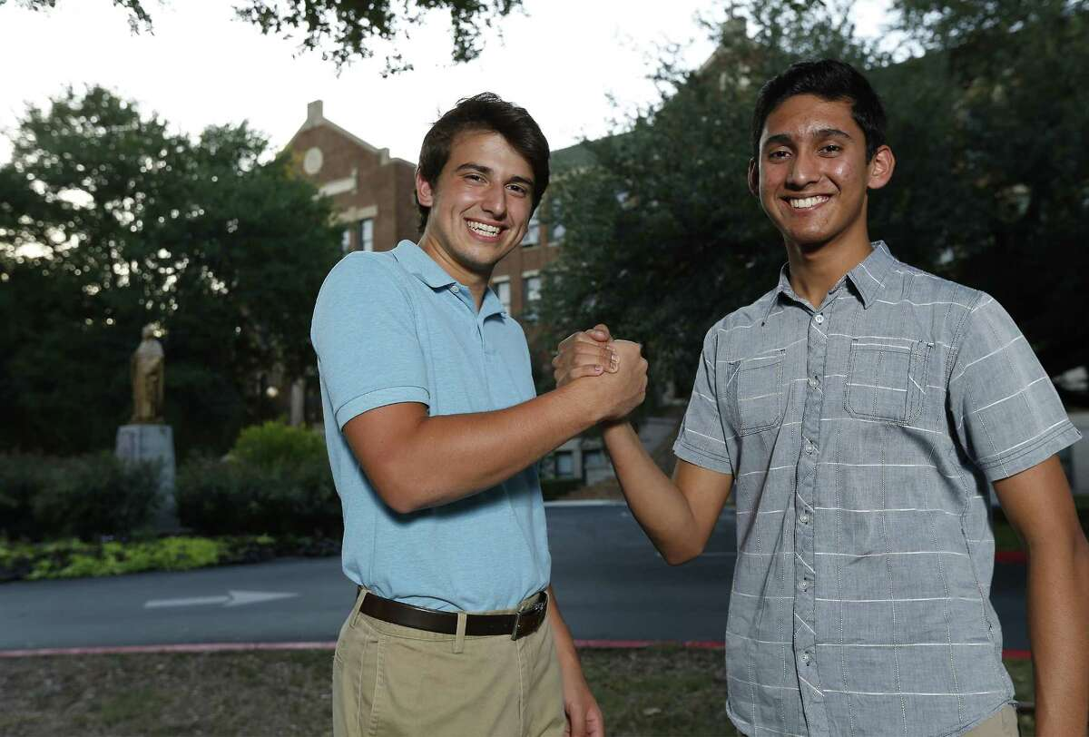Hasan Ehsan (right) and Logan Delgado were two of several students who attended the Catholic-Muslim Youth Dialogue group, which met at Oblate School of Theology during the last school year and brought together Catholic and Muslim students to forge ties between, lessen potential tensions and bridge differences between the two groups. The program brought together seniors from two Catholic schools --- Central Catholic and Providence --- and Muslim students from various schools. Ehsan is returning to Texas Military Institute as a junior this fall, and Delgado will be a freshman at Texas A&M University in College Station. (Kin Man Hui/San Antonio Express-News)