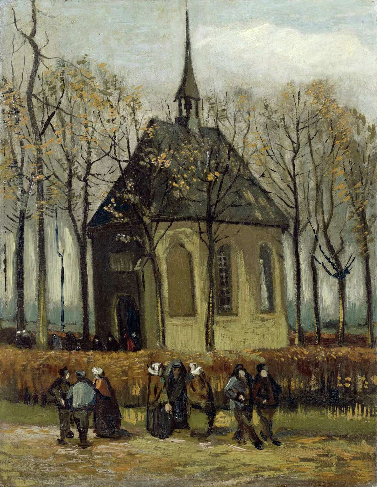 In this image provided by the Van Gogh Museum in Amsterdam on Friday, Sept. 30, 2016, the painting 'Congregation Leaving the Reformed Church at Nuene' by the artist Vincent Van Gogh. Italian police have recovered two Van Gogh paintings stolen from the Amsterdam museum in 2002.