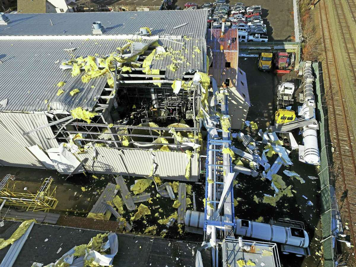An aerial view of the gas explosion on Welton Street in New Haven, seen in a drone photo from West Haven Fire Department Deputy Chief R. Scott Schwartz, emergency management director for the City of West Haven.
