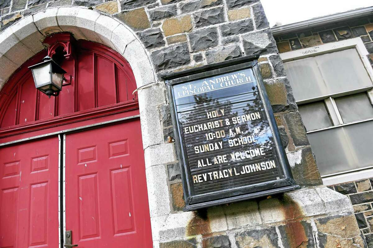 Arnold Gold — New Haven Register The entrance to St. Andrew's Episcopal Church before services Sunday.