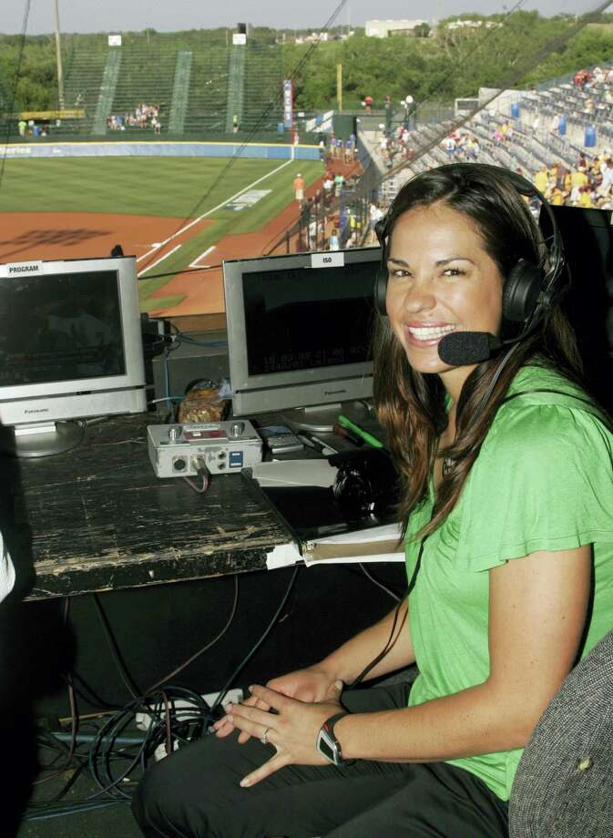 Jessica Mendoza poses for a photo in the ESPN broadcast booth at the Women's College World Series. Photo: The Associated Press File Photo   / 2008 AP