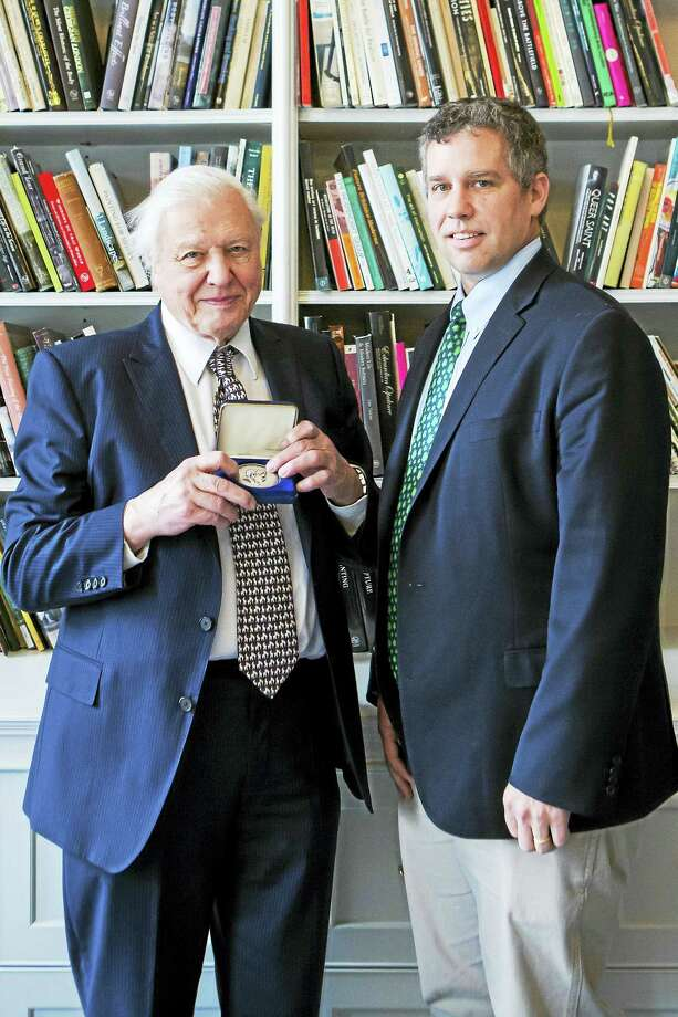 Attenborough and Peabody director David Skelly Photo: Courtesy Of Yale Peabody Museum Of Natural History.   / Karla Gowlett