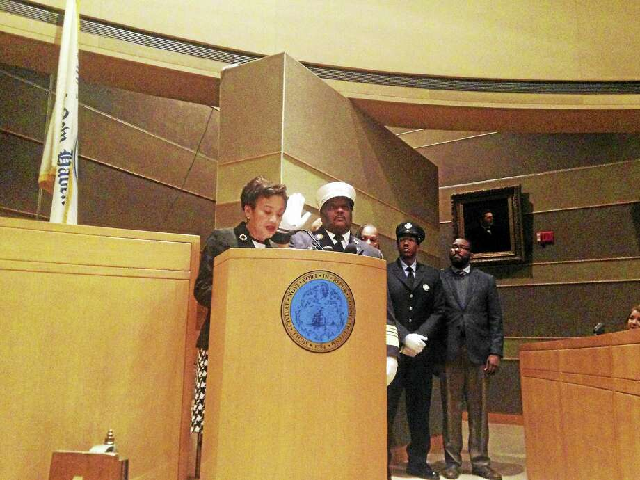 John Alston Jr. is officially sworn in as chief of the New Haven Fire Department at City Hall Thursday evening. Photo: Juliemar Ortiz — New Haven Register