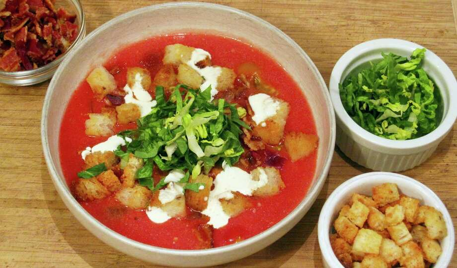 Chilled BLT soup, where the tomatoes are the stars. Photo: Sara Moulton — The Associated Press   / Sara Moulton