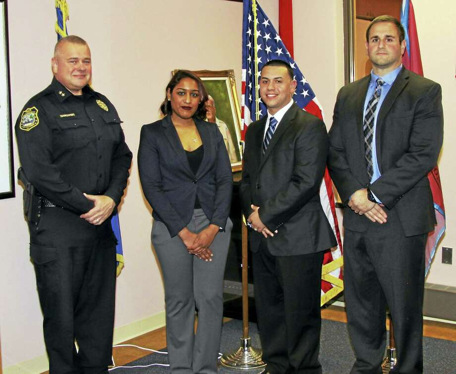 Derby's newest police recruits from left, Catherine Garcia, Ariam Rivera and Matthew Tartaglione, pictured with Police Chief Gerald Narowski. Photo: Derby Police Department