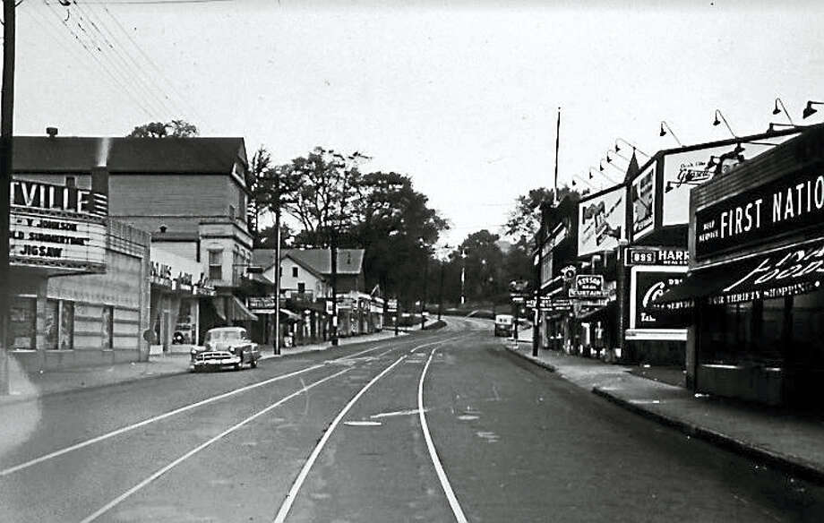 The Westville Theater is seen in this 1949 photo of Whalley Avenue Photo: Courtesy Of New Haven Museum