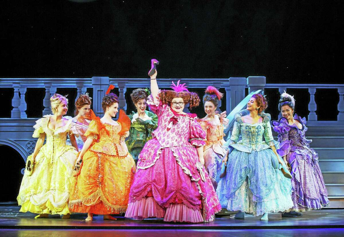"""The company of """"Cinderella"""" in a lighter moment."""