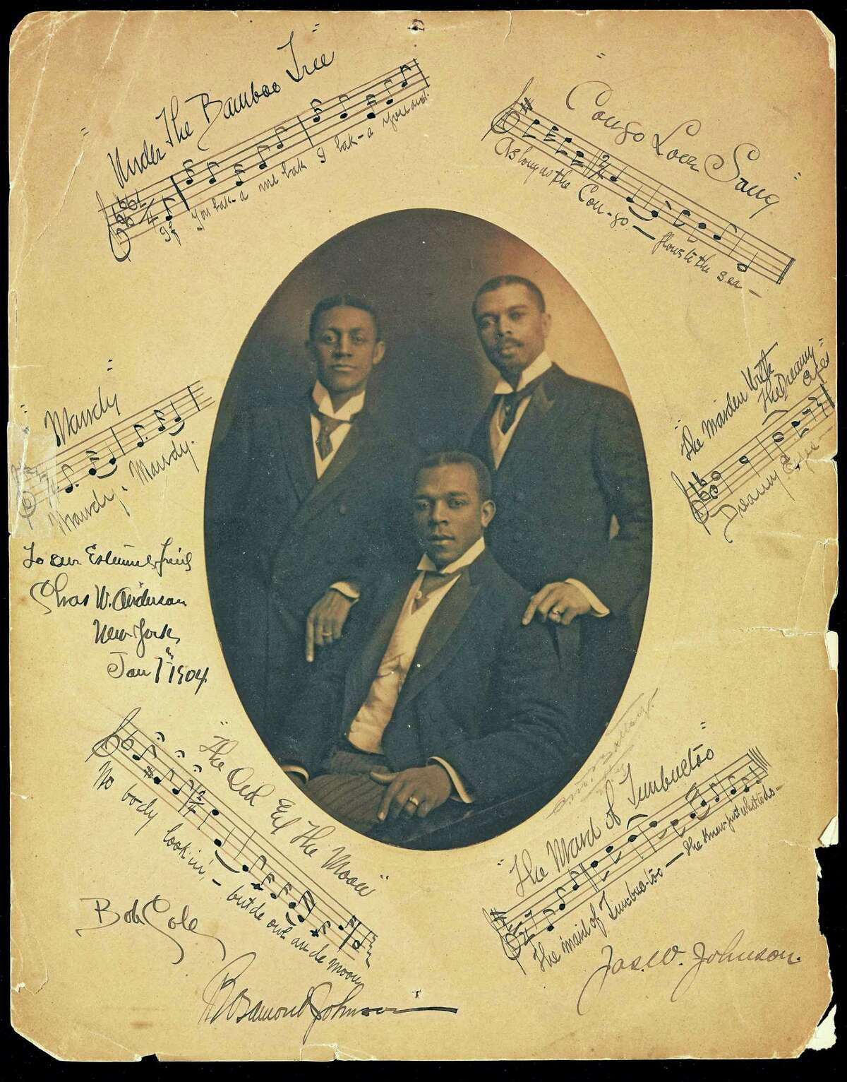 Bob Cole, J. Rosamond Johnson and his brother James Weldon Johnson, with inscriptions to John Nail, 1904.