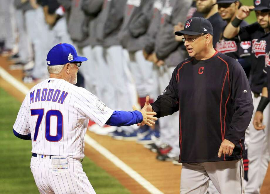 Watching Cubs manager Joe Maddon, left, and Indians manager Terry Francona manage in this World Series has been like watching a chess match between a pair of grandmasters says Register columnist Chip Malafronte. Photo: The Associated Press File Photo   / EPA Pool Photo