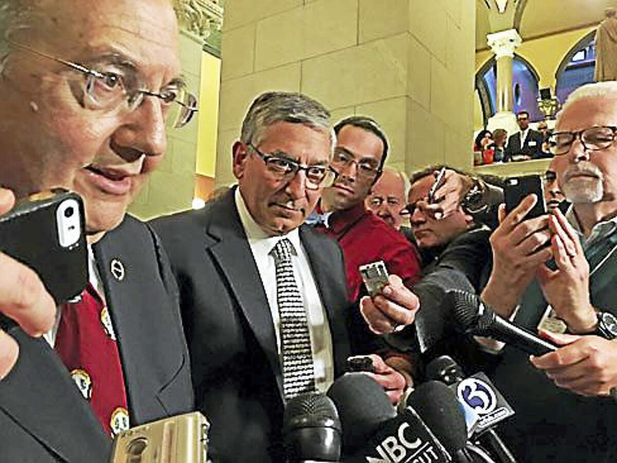 Sen. President Martin Looney and Sen. Len Fasano during a press conference in May.