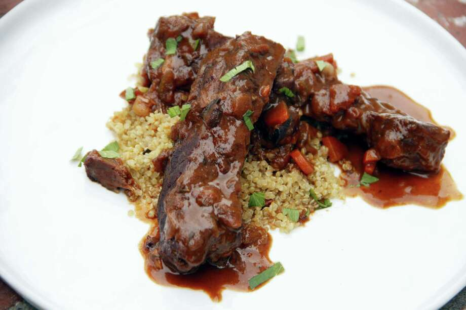 "These braised beef ""ribs"" are lower in fat than traditional braised ribs. Photo: Melissa D'Arabian — The Associated Press   / Melissa d'Arabian"