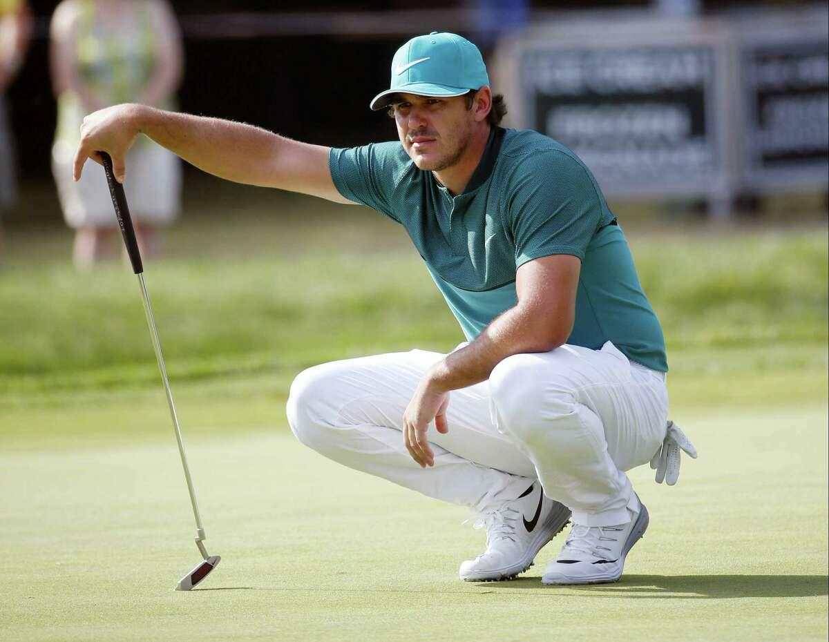 Brooks Koepka lines up a putt on the 14th hole during the first round of the PGA Championship at Baltusrol Golf Club in Springfield, N.J., Thursday. Koepka will be playing in the Travelers Championship next week at TPC River Highlands in Cromwell.