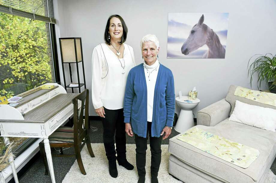Hypnotherapist Lisa Zaccheo and registered nurse Betty Hamilton are photographed at the recently opened office of Mind Matters Hypnosis Center in Guilford.  Zaccheo is the owner of the business. Photo: Arnold Gold — New Haven Register