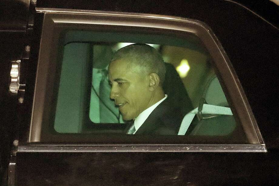 President Barack Obama departs Philadelphia International Airport on his way to attend the Democratic National Convention, Wednesday, July 27, 2016, in Philadelphia. Photo: AP Photo/Julio Cortez    / Copyright 2016 The Associated Press. All rights reserved. This material may not be published, broadcast, rewritten or redistribu