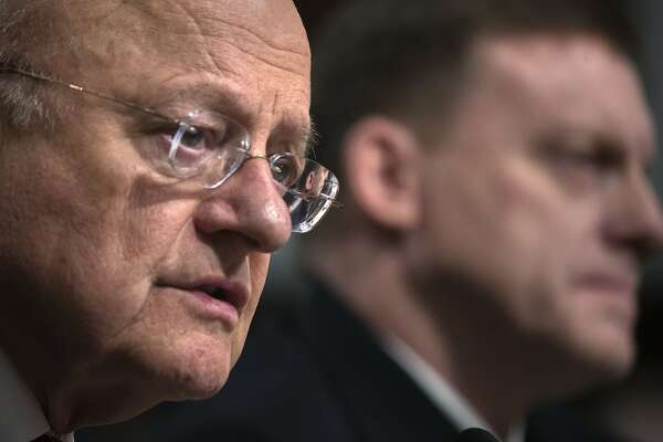 """James Clapper, director of National Intelligence, testifies before the Senate Armed Services Committee on Capitol Hill, in Washington, Jan. 5, 2017. The committee convened Thursday morning for a hearing on """"foreign cyber threats to the U.S."""" Of course, one foreign entity is destined to loom largest: Russia. (Stephen Crowley/The New York Times)"""