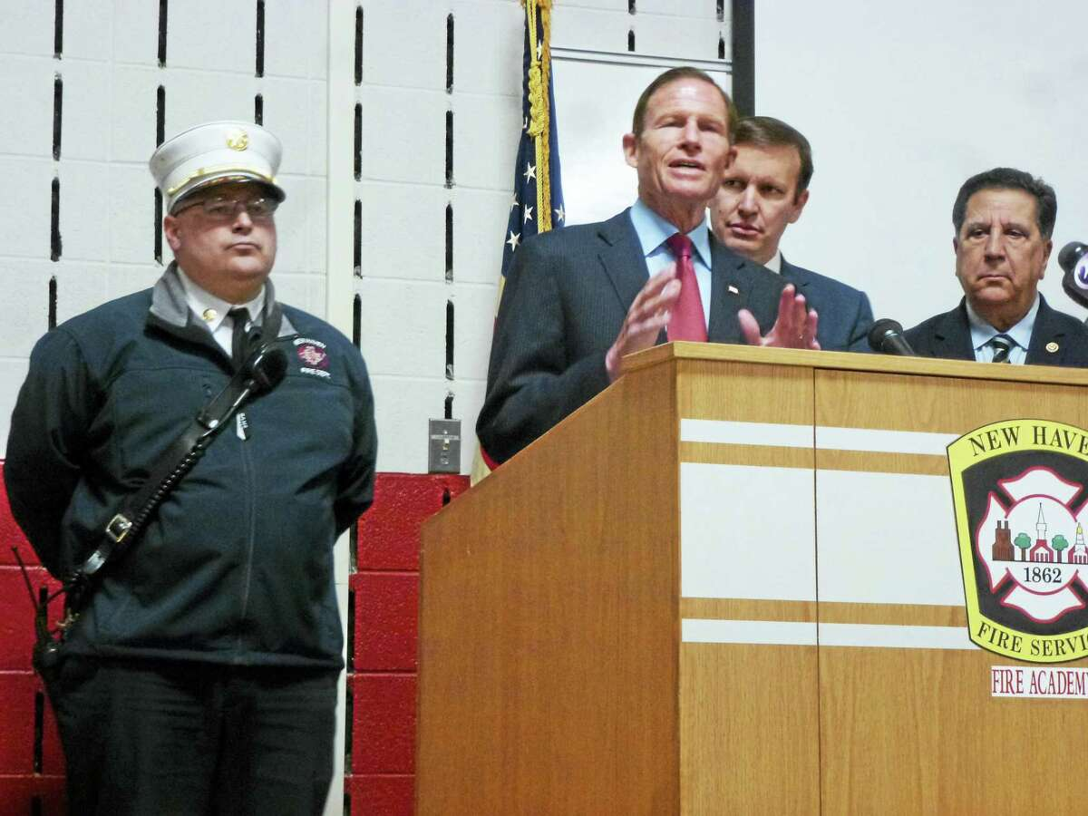 In this Register file photo, U.S. Sen. Richard Blumenthal, center, is joined by fellow U.S. Sen. Chris Murphy, center right, and uniformed firefighters to discuss an extension to the 9/11 compensation bill.