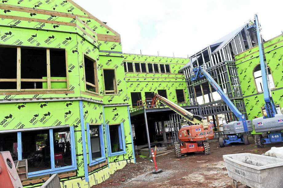 St. John Hall Student Center at Choate Rosemary Hall under construction in Wallingford earlier this month. Photo: Arnold Gold — New Haven Register