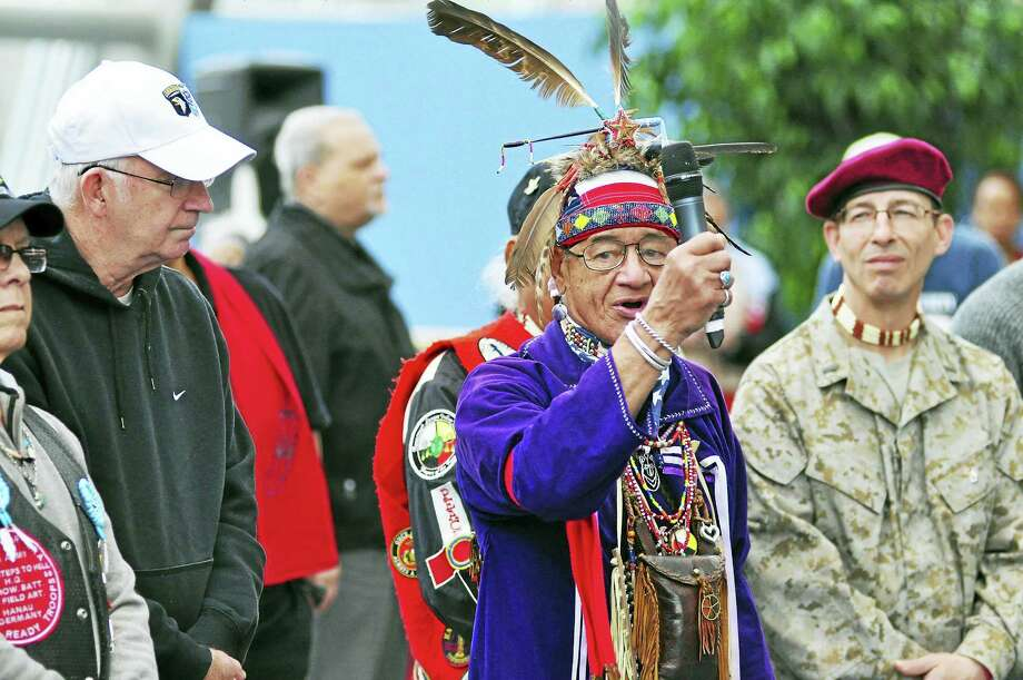 Native Americans and veterans at the powwow last year. Photo: Contributed