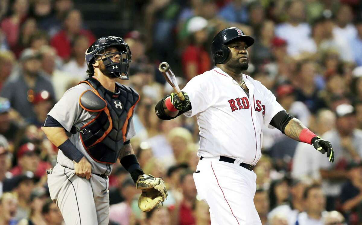 Boston Red Sox designated hitter David Ortiz watches his three-run home run during the third inning of Boston's 9-8 loss to the Tigers on Tuesday.