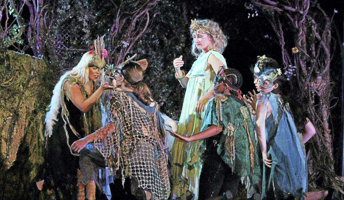 Brianna Bauch as Peaseblossom, left, and Kristin Wold as Titania with fairies.