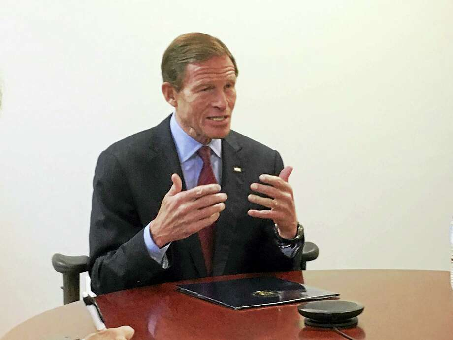 U.S. Sen. Richard Blumenthal, D-Conn., speaks with the New Haven Register editorial board. Photo: NEW HAVEN REGISTER