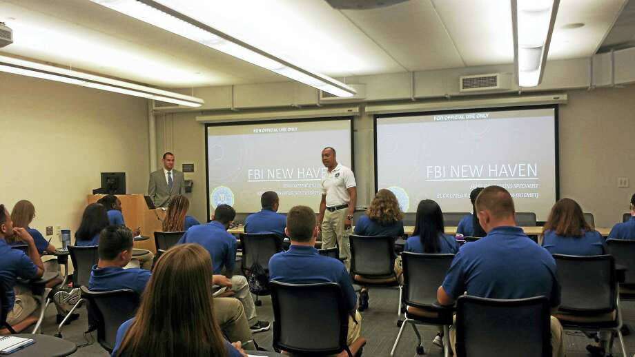 Charlie Grady, spokersperson for the FBI in New Haven, speaks to participants in the first-ever Future Law Enforcement Youth Academy, held at Yale University. Photo: Anna Bisaro — New Haven Register