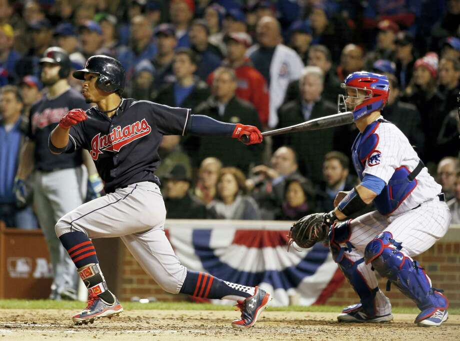 AP Photo/Nam Y. Huh  Cleveland Indians' Francisco Lindor hits a RBI single during the sixth inning of Game 5 of the Major League Baseball World Series against the Chicago Cubs on Oct. 30, 2016 in Chicago. Photo: AP / Copyright 2016 The Associated Press. All rights reserved.