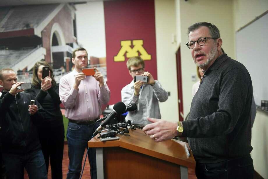 University of Minnesota President Eric Kaler speaks to members of the media Saturday. Photo: Aaron Lavinsky — Star Tribune Via AP   / STAR_TRIBUNE