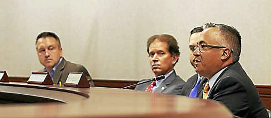 Rep. Vincent Candelora questions OFA at Wednesday's hearing Photo: Christine Stuart Photo