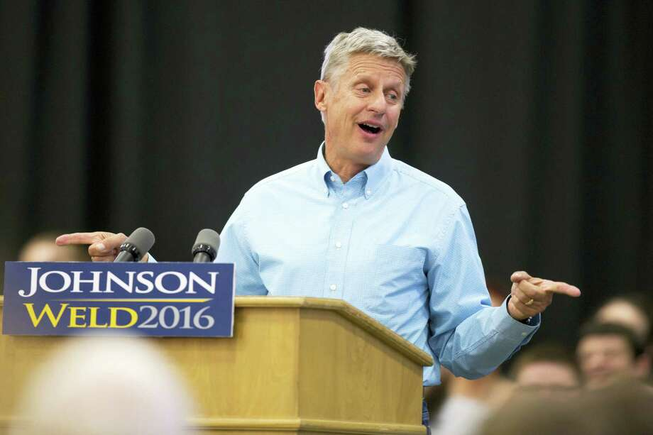 In this Sept. 3 file photo, Libertarian presidential candidate Gary Johnson speaks during a campaign rally in Des Moines, Iowa. Photo: AP Photo — Scott Morgan, File   / FR92386 AP