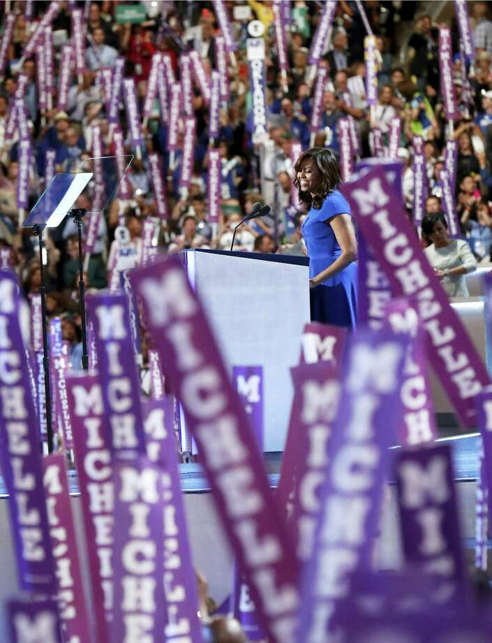 First Lady Michelle Obama speaks during the first day of the Democratic National Convention in Philadelphia  on Monday. Photo: ASSOCIATED PRESS   / Copyright 2016 The Associated Press. All rights reserved. This material may not be published, broadcast, rewritten or redistribu
