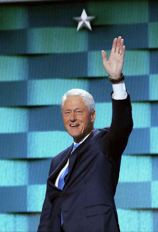 Former President Bill Clinton takes the stage during the second day session of the Democratic National Convention in Philadelphia, Tuesday, July 26, 2016. (AP Photo/Carolyn Kaster) Photo: AP / Copyright 2016 The Associated Press. All rights reserved. This material may not be published, broadcast, rewritten or redistribu