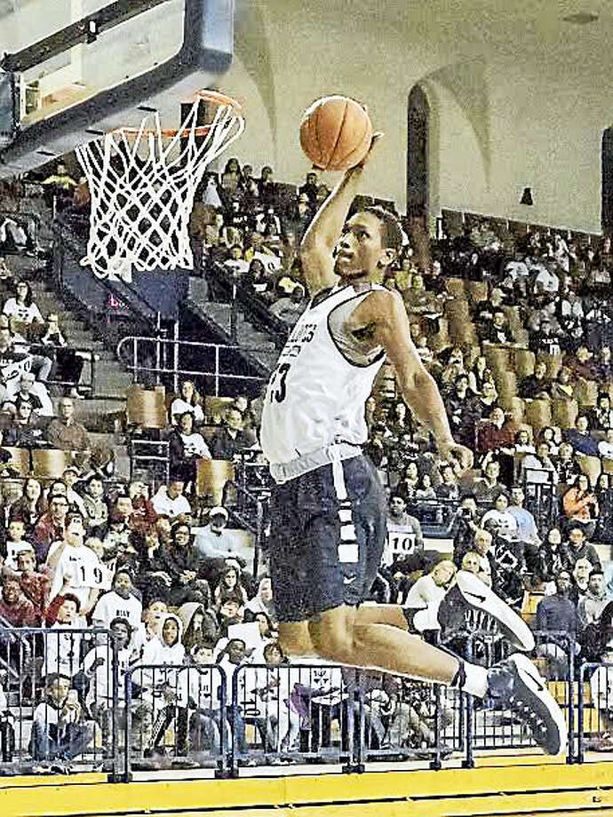 Jordan Bruner, who wowed the crowd at the dunk contest at Yale's Blue Madness event on Saturday, is one of the most highly-touted incoming freshmen in program history. Photo: Steve Musco - Special To The Register   / ©2016-2017 Steve Musco. All rights reserved.