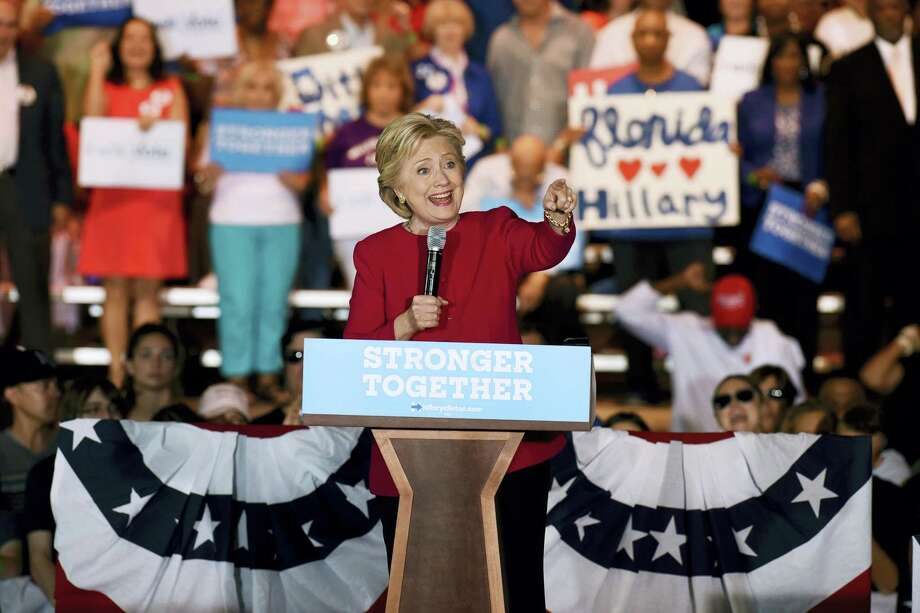 Democratic presidential nominee Hillary Clinton speaks at an early voting rally on the Broward College campus in Coconut Creek, Fla. on Tuesday. Photo: The Associated Press   / Sun Sentinel