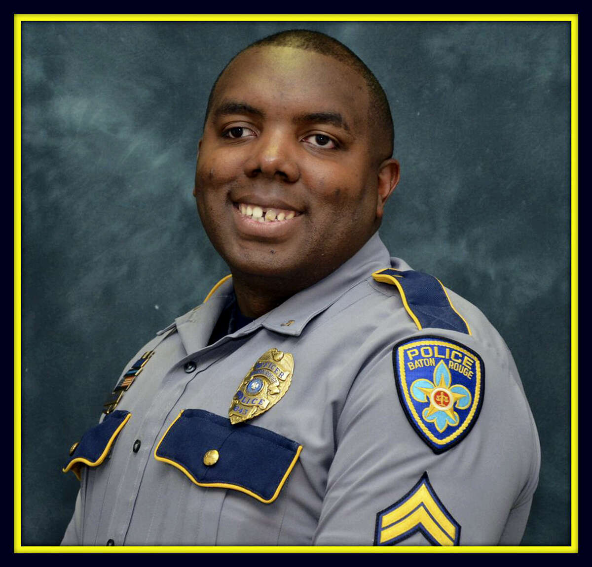 This undated photo made available by the Baton Rouge Police Dept. shows officer Montrell Jackson. Funeral services are planned Monday, July 25, 2016 for police officer Montrell Jackson, a 32-year-old slain by a gunman who authorities said targeted law enforcement.